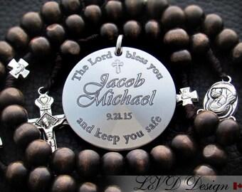 Confimation Gift Boy, Custom Personalized Catholic Baptism or Confirmation Rosary Engraved, Sponsor Gift, Communion. K1