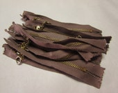 """RESERVED Vintage 1960s Zippers - Deadstock 4"""" Round Ring Metal Zipper - Pack of 10 NOS"""