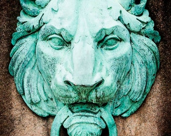 Vintage, Antique,  Rustic Lion Head Door Knocker - Copper Green - Detailed Home Decor Photography Print
