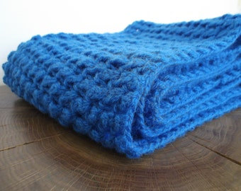 Hand knitted Blue wool Scarf