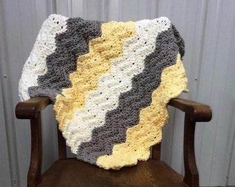 Crochet Pattern for a Quick & Easy Crochet Baby Chevron Ripple Blanket Kamden Blanket