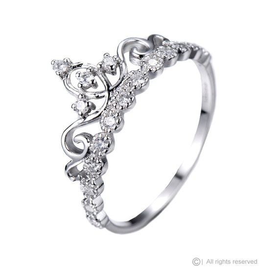 dianty 14k white gold princess tiara crown cz ring
