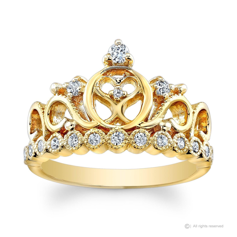 Bague de cz couronne coeur princesse or jaune 14k for Coeur couronne et miroir apollinaire