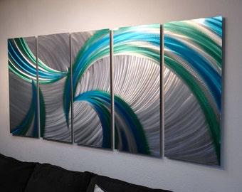Metal Wall Art Decor Aluminum Abstract Contemporary Modern Sculpture Hanging Zen Textured - Tempest 36 Blue Green