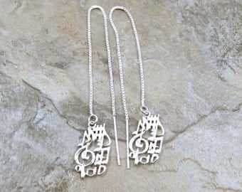 Sterling Silver Treble Clef with Music Notes Charms on Sterling Silver Threader Earrings -1681/558