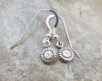 Sterling Silver Petite Sunflower Dangle Earrings on Sterling Silver French Hook Ear Wires - 1216