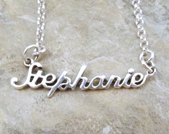 Sterling Silver Name Necklace -Stephanie - on Sterling Silver Rolo Chain in Length of Choice -2118