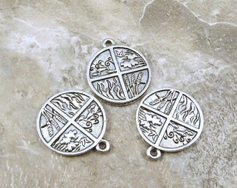 4 Elements Charm - Land Wind Fire Water - 3 Pewter Charms - Free Shipping to US - (0043)