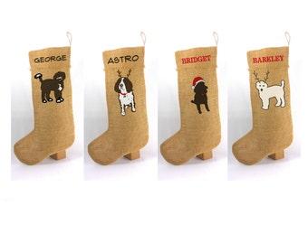 Burlap Christmas Stocking, Personalized Pet Stocking, Christmas Stocking for Your Pet