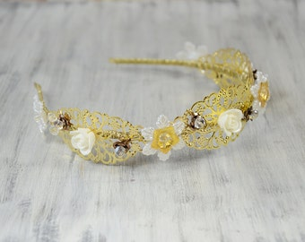 Gold Flowers Bridal Tiara, Crystal Headband, Floral Bridal Headpiece, Wedding Headpiece, Bridal Crown, prom, Art Deco