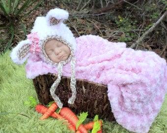 Crochet Bunny bonnet.Size:Newborn