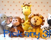 Set of 3 jungle animals cake toppers