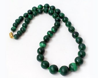 Vintage Genuine malachite stone necklace , Genuine Malachite Bead Necklace .