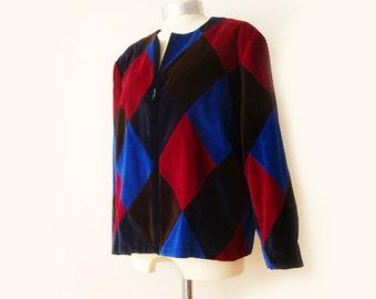 Vintage Patchwork velvet Jacket ,  Multi Color Jacket ,Soft Velvet Jacket , Oversized Cropped Jacket , XL Jacket velvet .