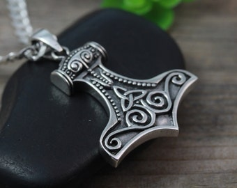 Sterling silver Celtic Hammer Necklace, Mens Necklace, Silver Thor Hammer, Choose Chain, sterling silver Mens Jewelry, Man Necklace.R359