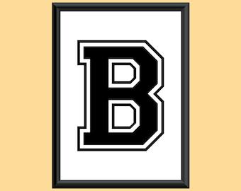 Typography DIGITAL PRINT Monogram Initial Wall Art Varsity Letter B 5x7
