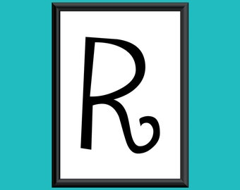 Typography Giclee Print Monogram Initial Wall Art Sybil Letter R