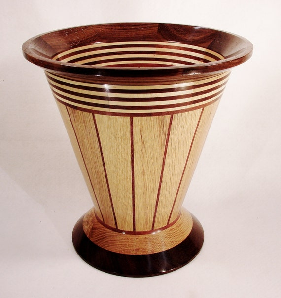 Large Segmented Lathe Turned Wood Vase