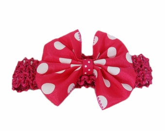 Toddler Baby Girl's Headband with Pink Polka Dot Bow, Head Band Hairband