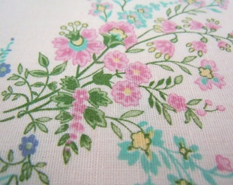 Pink Floral Fabric, Vintage Pink & Teal Cotton w/Flowers, Bouquet Spray #399