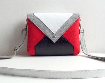 Red Gray White Black Wool Felt Genuine Leather Messenger Crossbody Bag