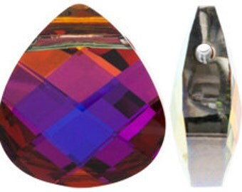 Set of 4 Swarovski 6012 15x14mm Volcano Flat Briolette Pendants (sku 7562 - 6012-15-VO)