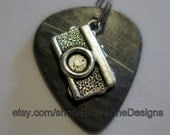 Guitar Pick Pendant from Vinyl record - Camera