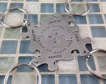 BFF Puzzle keychains - Set of 4 - best friends keepsake