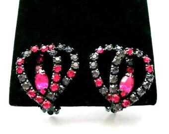 Vintage Fuchsia Pink and Lavender Rhinestone Clip Earrings