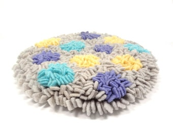 Small shag mat Wool chair pad Gray Aqua Mauve Yellow Thick round rug Deep pile mat Proddy Upcycled blankets Modern chairpad
