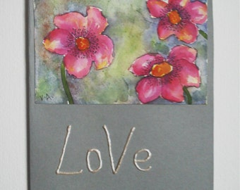Valentine's Card, Love Card, I Love You Card, Watercolor Card, Hand Made Card, Hand Painted Card, Flower Card