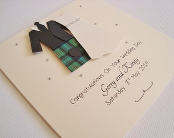 Personalised Bride and Groom Scottish Kilt Wedding Day Card