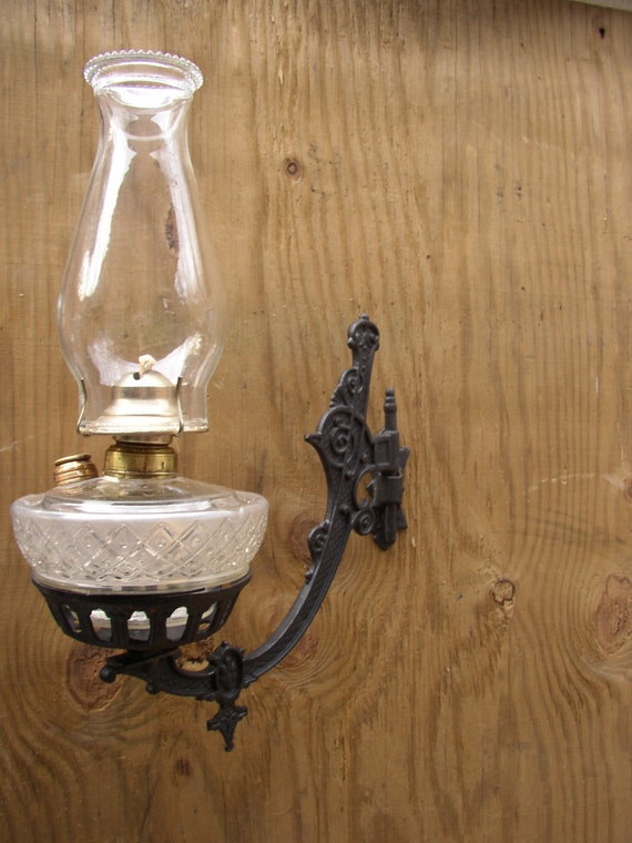 Wall Mounted Lamp Holder : Beautiful Antique Wall Mount Oil Lamp Holder by SandridgeAntiques