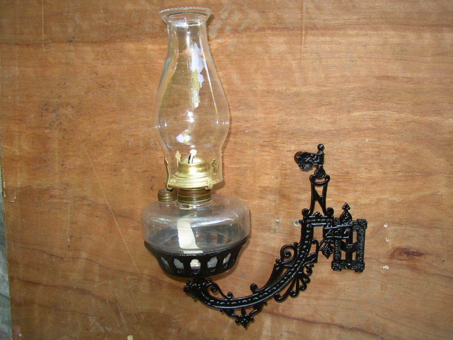 Wall Mounted Antique Oil Lamps : Beautiful Antique Wall Mount Oil Lamp Holder by SandridgeAntiques