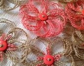 Rustic Coral Burlap Flowers - one dozen - rustic - farmhouse - barn wedding - party decor