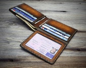 Mens leather wallet. Minimal leather wallet. Thin sturdy leather wallet. Functional practical wallet. ID window leather wallet.