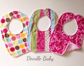 Ready to ship! Set of 3 bib with soft pink minky backing
