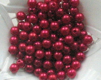 Beads Plastic Red 6 mm Round 35 pcs pearl-shell