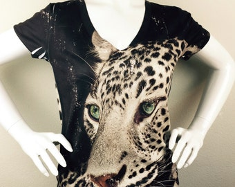 woman Leopard print top, t shirt and tank by hellominky xs - plus size-S5-7