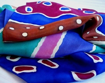 Hand Dyed Silk Art Scarf.  Blue, Brown, Green, Purple & Pink. Hand Painted Habotai Silk Scarf. Unique 11x60 inch Multi-Color Silk Scarf.
