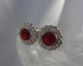 Sparkling Clear and Red Rhinestone Pierced Earrings