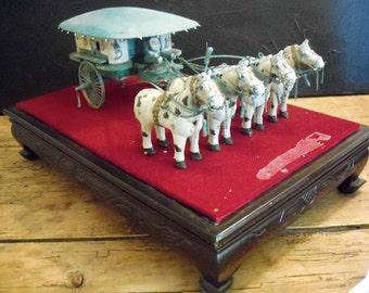 Vintage Metal Horse-Drawn Carriage