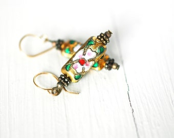 Japanese Inspired Dangling Earrings  |  Gold with Flowers  |  Vintage  |  Floral Jewelry  |  Light Weight  |  Shimmering