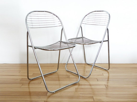 pair chrome folding chairs wire mesh chairs