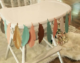Paper Feather Garland Custom Colors Party Decor/Photo Prop
