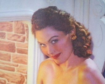 Original 1950s Risque Pinup Girl Semi-Nude Calendar Blank from Printer