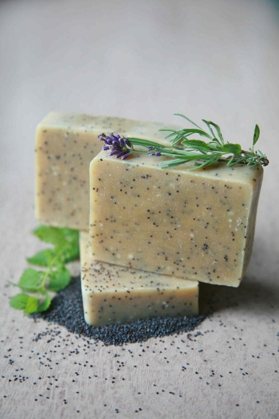 Lemon Lavender Poppy Seed scrub soap