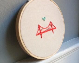 "4"" Embroidery Hoop Art - Golden Gate Bridge - SF - Home Decor - Wall Art -   Shower Gift - *FREE SHIPPING!"