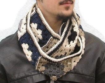 Granny Square Infinity Crochet Men Scarf Mens Scarf Crochet Blue Black Ivory Gray