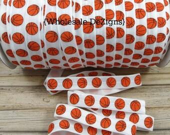"Basketball FOE - White and Orange - Print Fold Over Elastic - 5/8"" Foe DIY Headbands Hair Ties - Shiny Satin - Elastic Supplies"